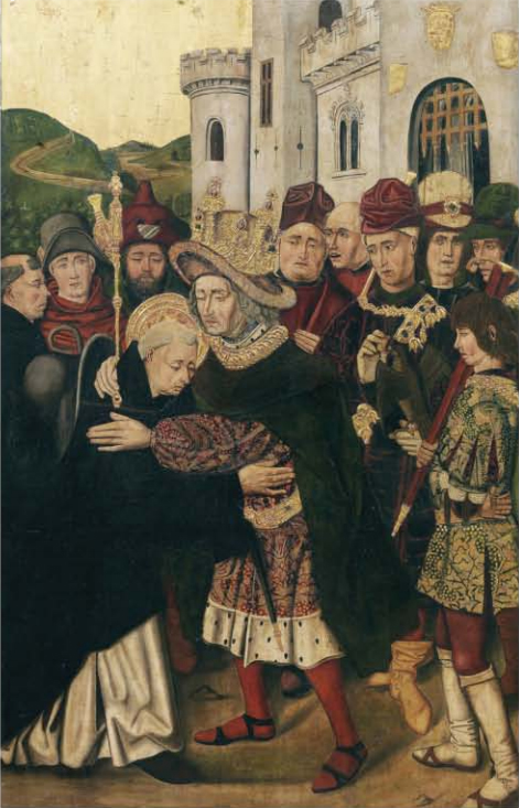 <p><strong>Figure 4</strong>. Martín Bernat,<em>Ferdinand I of Castile welcoming Saint Dominic</em>(1478–1479). Oil on panel, 145 × 93.5 cm. Prado Museum (P-6709).</p>