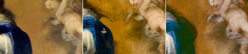 <p><em>Fig. 2. a, b and c.</em> Part of the Virgin's hair and blue mantel were concealed beneath a layer of orange pigment similar to the original background. Before, during and after restoration</p>