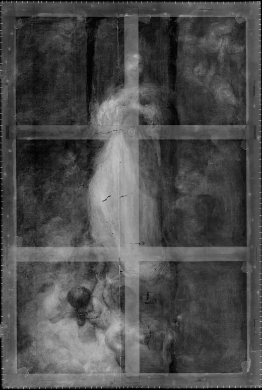 <p><em>Fig.6</em>. X-rays reveal the structure of the stretcher with its double cross-piece that was applied in the 19th century but is now lost</p>