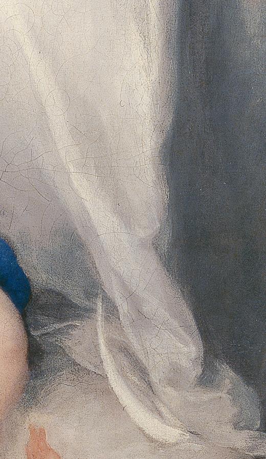 <p><em>Fig.5a.</em> Loose, impastoed brushstroke of the white of the mantel</p>