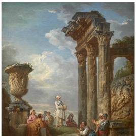 Ruinas con una mujer predicando (¿una sibila?)