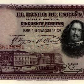 Billete de 50 pesetas emitido por el Banco de España el 15 de agosto de 1928