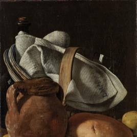Bodegón con cantarilla, pan y cesta con objetos de mesa