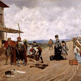 Aduaneros carlistas registrando una diligencia