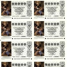 Capilla de billete de Lotería Nacional para el sorteo de 5 de enero de 1995