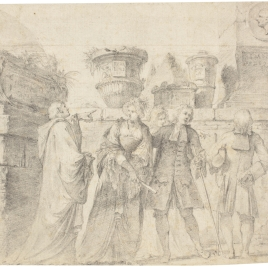 Grupo de damas y caballeros ante ruinas clásicas
