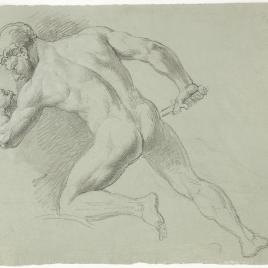 Estudio de desnudo masculino de espaldas semiarrodillado empuñando una espada