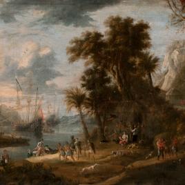 Paisaje con desembarco de holandeses en tierras de Brasil